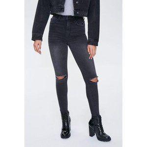 Forever 21 Black Distressed Super Skinny Jeans 24